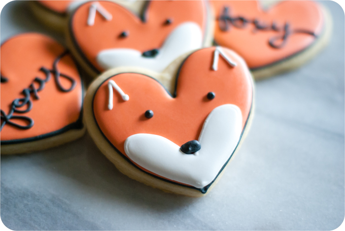 heart-shaped fox face decorated cookies