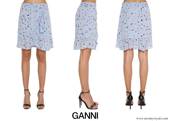 Princess Ingrid Alexandra wore Ganni Blue Printed Ruffled Georgette Mini Skirt