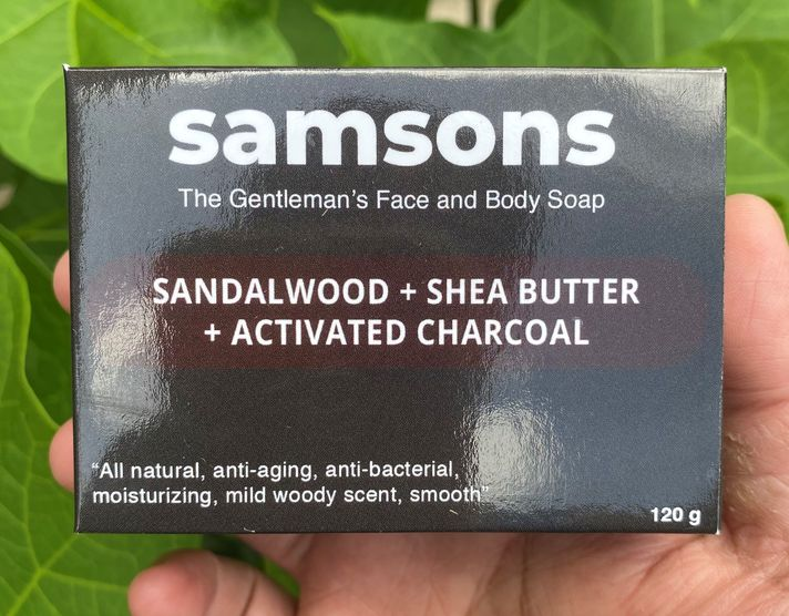 SAMSONS sandalwood, shea butter, and activated charcoal men's face and body soap by Ed & Kes