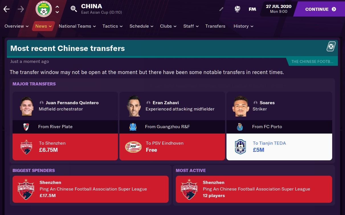 Football Manager 2021 China Money