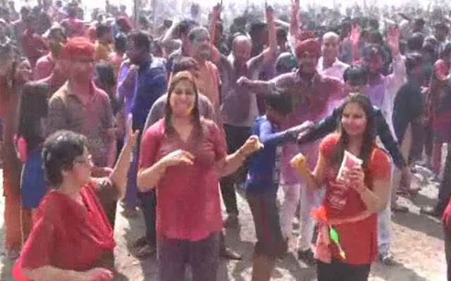The city drops on rain dance on Holi in Greater Faridabad