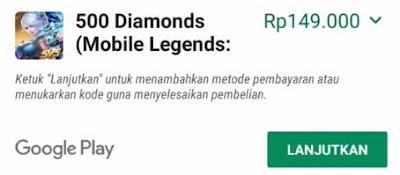 cara top up diamond mobile legends pakai saldo google play