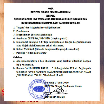Susunan Acara Live Streaming Mujahadah Nishfussanah Dan Rubu'ussanah Sersempak Saat Pandemi Covid-19