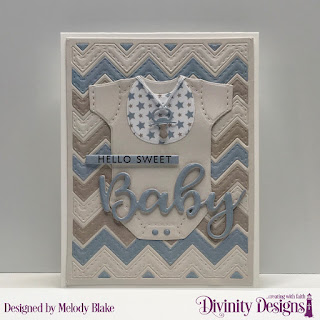 Stamp/Die Duos: Bless This Baby, Custom Dies:  Baby Blessings, Chevron Background, Sentiment Strips, Paper Collection: Baby Boy