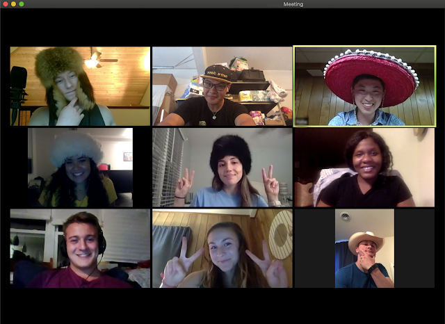 A virtual hangout with 9 people involved.
