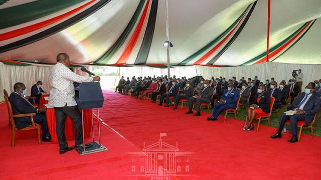President Uhuru Kenyatta sat Interior Cabinet Secretary Fred Matiang'i.