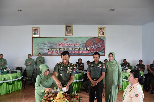 Hari Juang TNI AD, Korem 141/Tp Gelar Syukuran dan Potong Nasi Tumpeng
