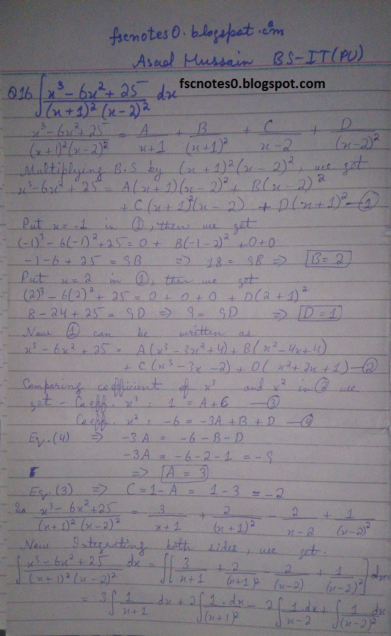 FSc ICS Notes Math Part 2 Chapter 3 Integration Exercise 3.5 question 12 - 22 by Asad Hussain 3