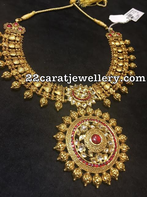 Antique Necklace with Sun Flower Pendant