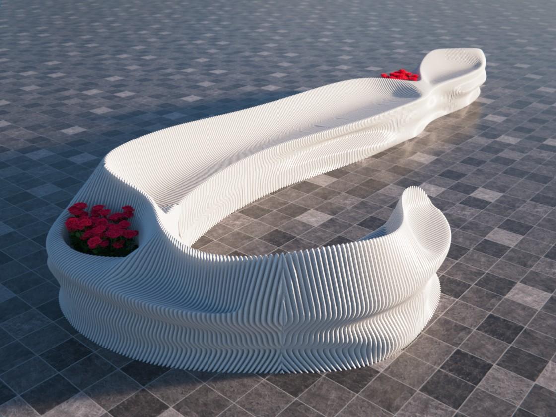 Duża ławka leżanka miejska biała leżak i kwietnik