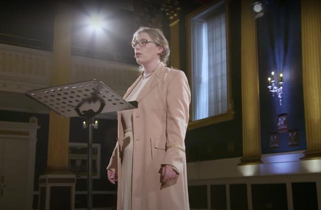 Elizabeth Hilliard performing Gráinne Mulvey's Great Women in St Patrick's Hall, Dublin Castle for the Dublin International Chamber Music Festival