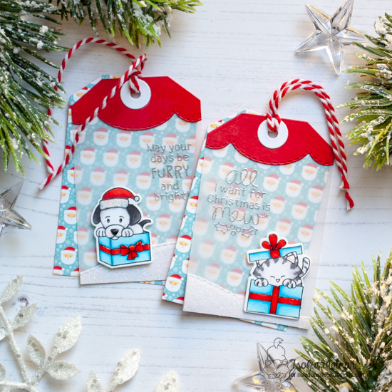 Cat and Dog Christmas Tags by Zsofia Molnar | Puppy Present Stamp Set, Purr-fect Present Stamp Set and Fancy Edges Tag Die Set by Newton's Nook Designs #newtonsnook #handmade