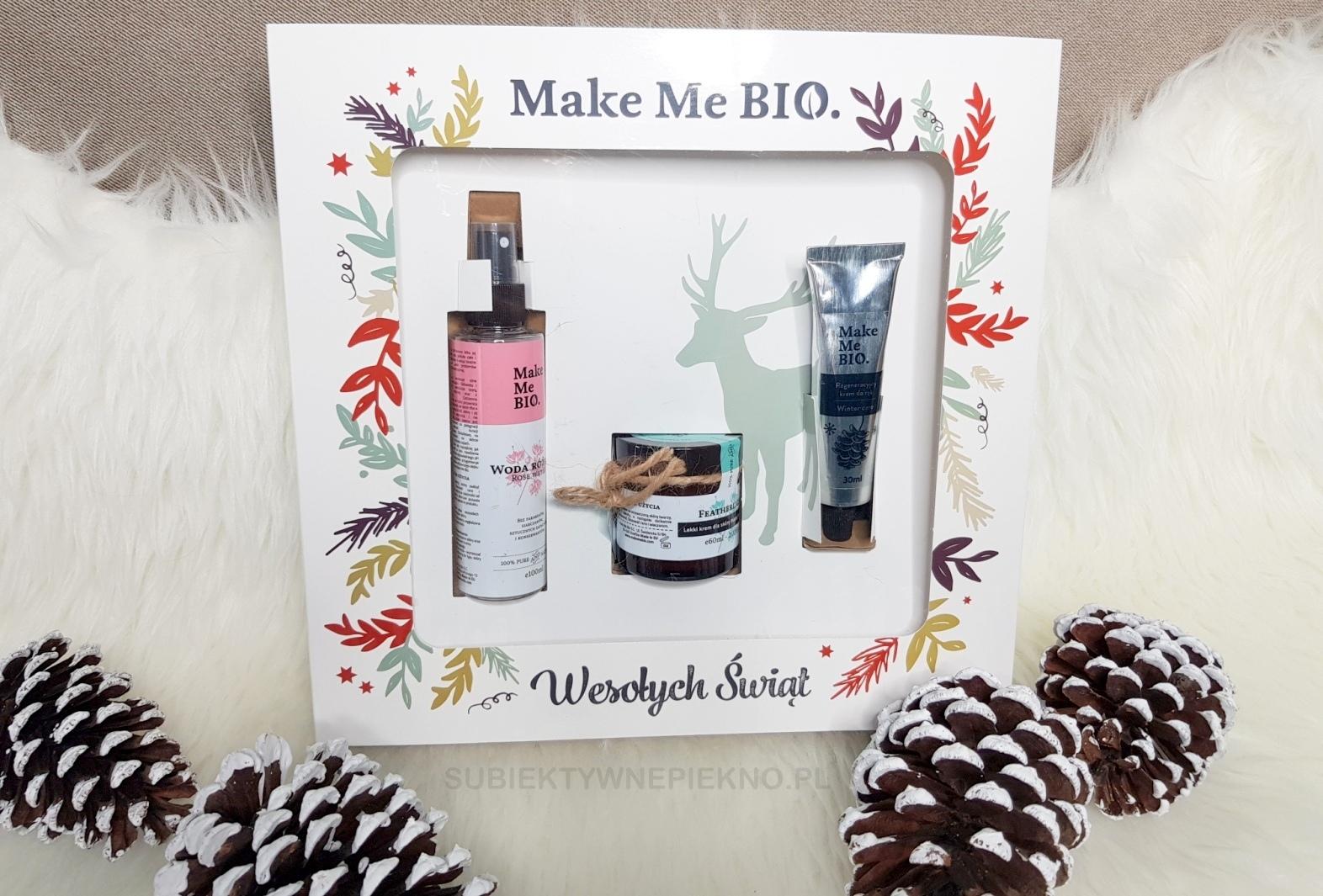 Pomysły na prezenty świąteczne do 100zł - świąteczny zestaw prezentowy Make Me Bio - krem do twarzy, krem do rąk, woda różana