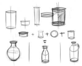 Menggambar berbagai benda dari bentuk dasar silinder sebagai media latihan teknik dasar menggambar