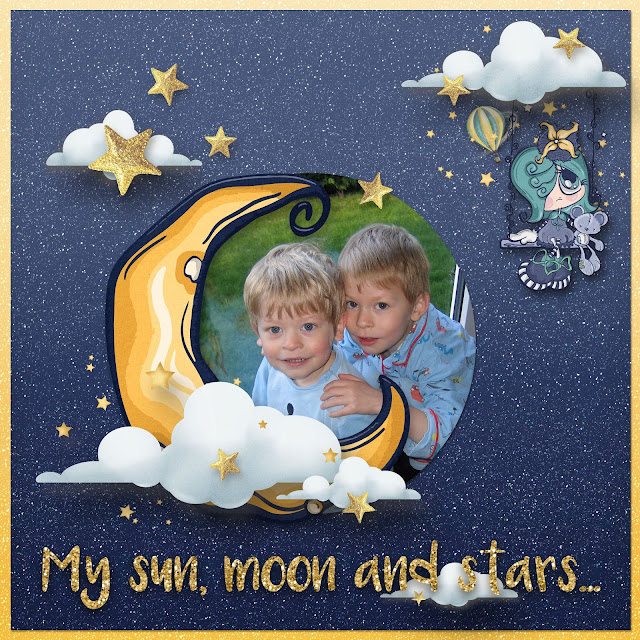 sun moon and stars digital scrapbooking templates
