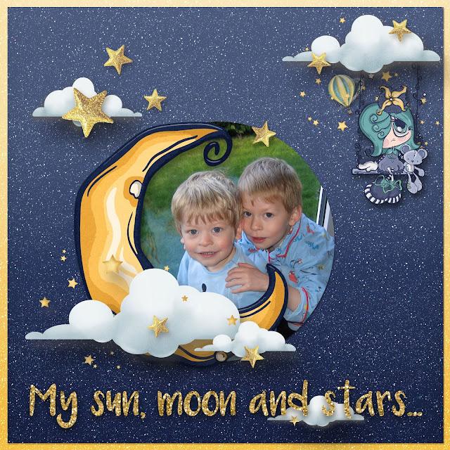 sun moon and stars digital scrapbooking templates
