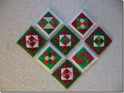 Ridiculously tiny patchwork ornaments