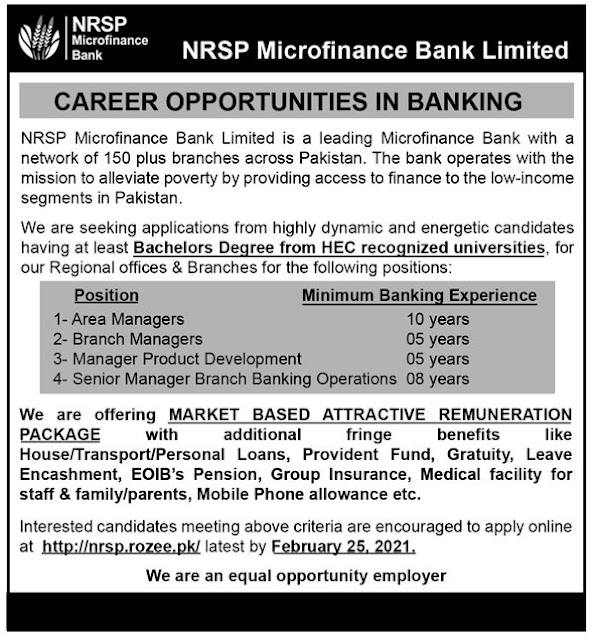 NRSP Microfinance Bank Limited Jobs 2021 Apply Online Area / Branch Managers & Others Latest
