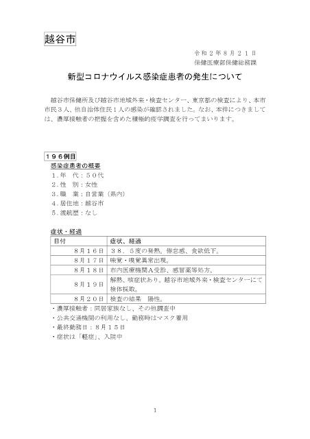 新型コロナウイルス感染症患者の発生について(8月21日発表)