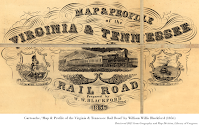 Cartouche, 'Map & Profile of the Virginia & Tennessee Rail Road' by William Willis Blackford (1856). Retrieved 2021 from Geography and Map Division, Library of Congress.
