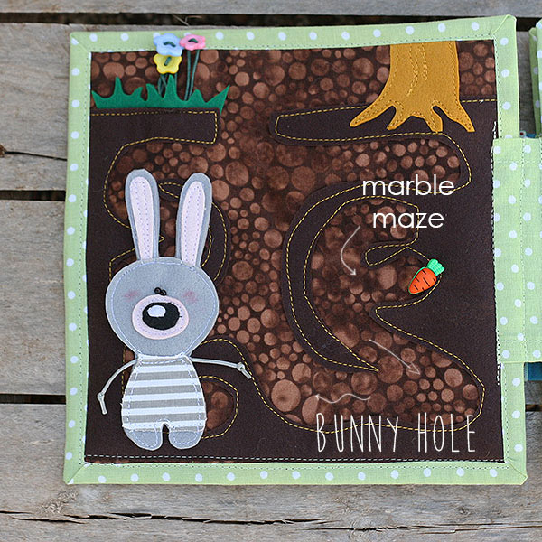 Quiet book Bunny day Bunny hole maze