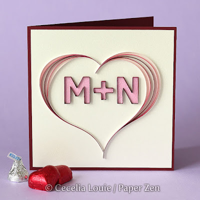 Quilling Letters M and N - Multi-Strip Scroll Tutorial and Pattern - Valentine Card