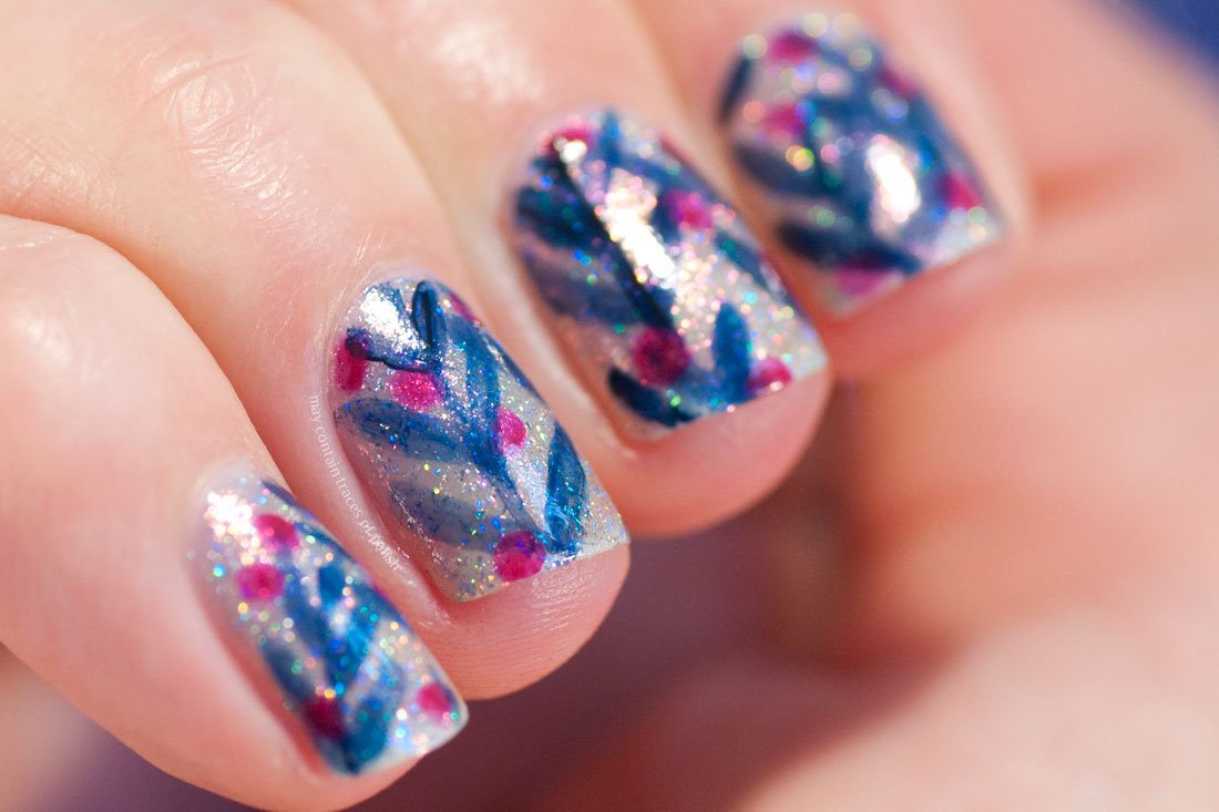 ILNP Rosewater Abstract Leaf Nail Art