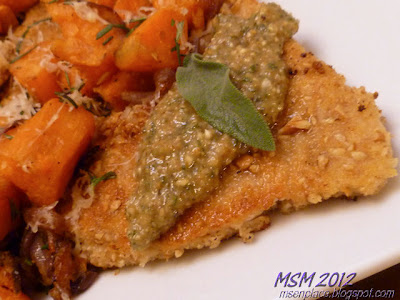 Crispy Turkey Cutlets with Pecan-Sage Sauce