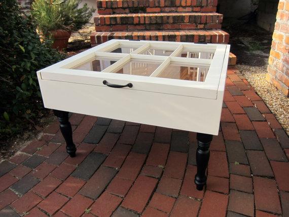 Plantation Design Sash Window Coffee Table Shadow Box