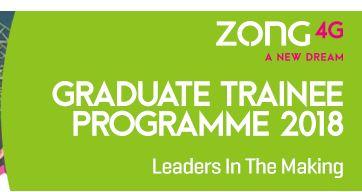 Zong 4G Graduate Trainee Programme 2018