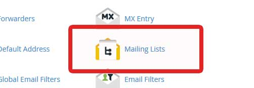 mailing list in cpanel options
