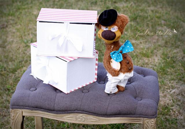 handmade gift box, handmade teddy bear