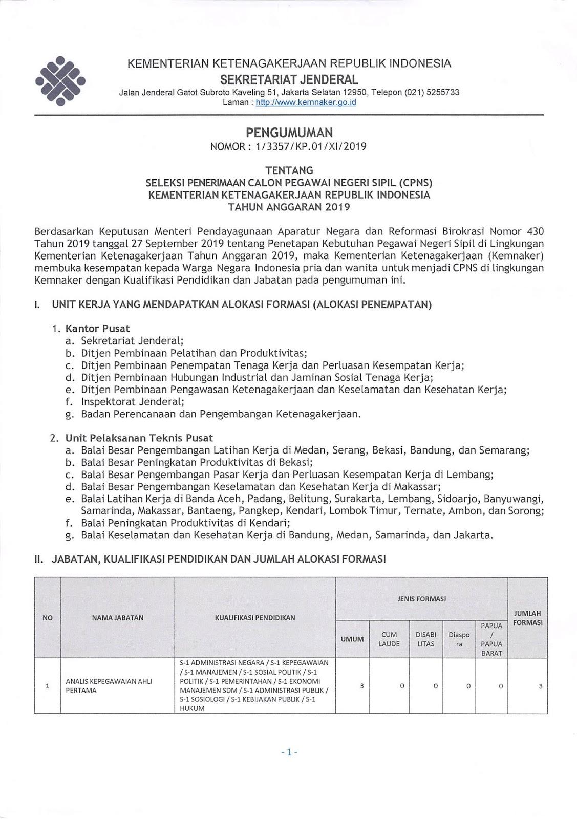 Lowongan CPNS KEMNAKER (Kementerian Ketenagakerjaan) Tahun Anggaran 2019 [416 Formasi]