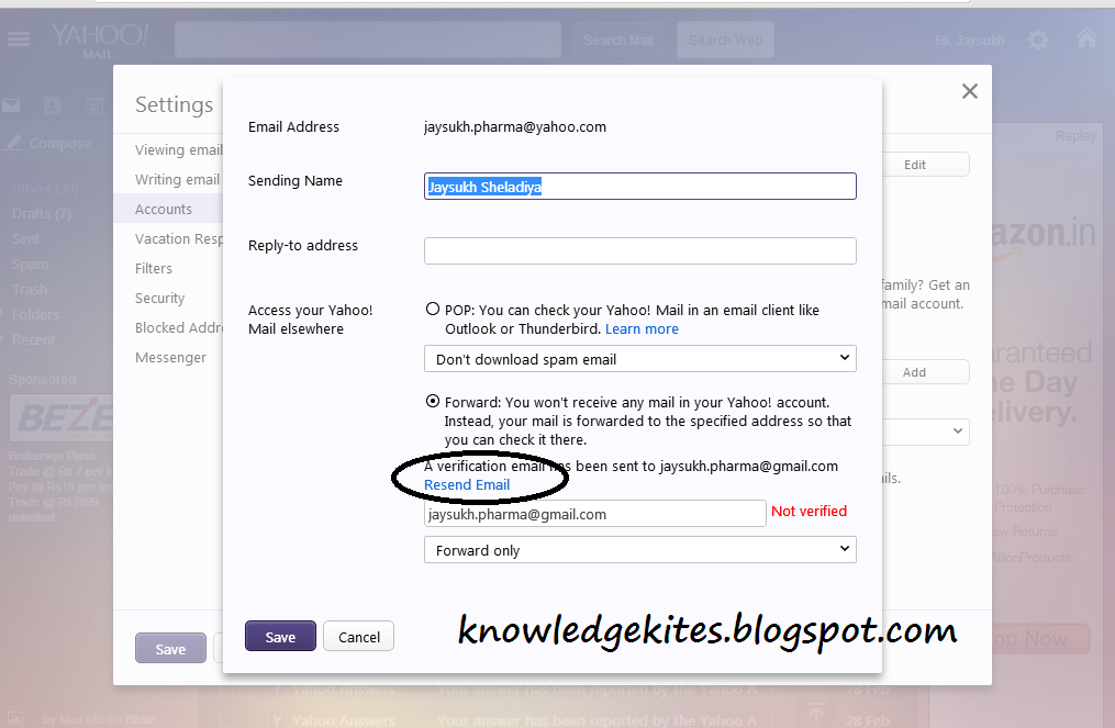 Forward Yahoo mail in your Gmail mail account - verification mail 4-1