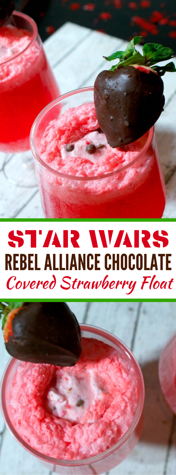 STAR WARS REBEL ALLIANCE CHOCOLATE-COVERED STRAWBERRY FLOAT #drinks #smoothies