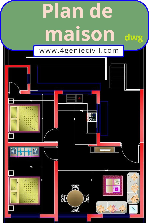 plan maison gratuit autocad dwg dessin