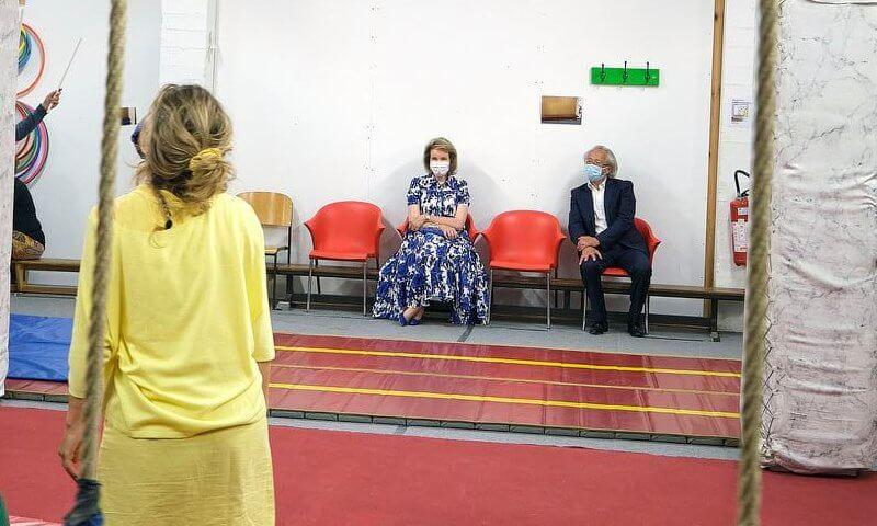 Queen Mathilde wore a new Queena willow patterns midi dress from Diane Von Furstenberg