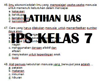 Soal UAS PAS IPS Semester 1 Kelas 7 SMP/MTS Tahun 2021/2022