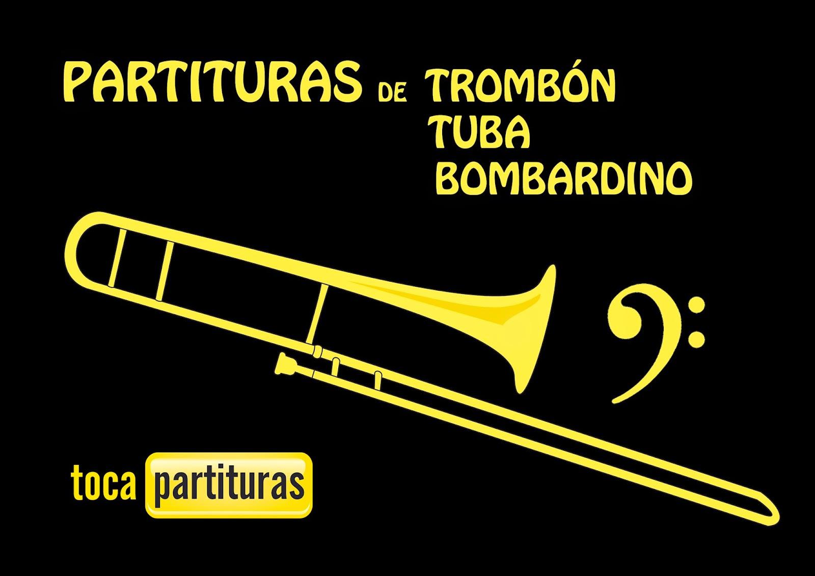 "Partituras de Trombón, Tuba y Bombardino en Clave de Fa ""1000 Partituras Musicales para tocar con tu Trombón Tuba o Bombardino"" tocapartituras.com para"