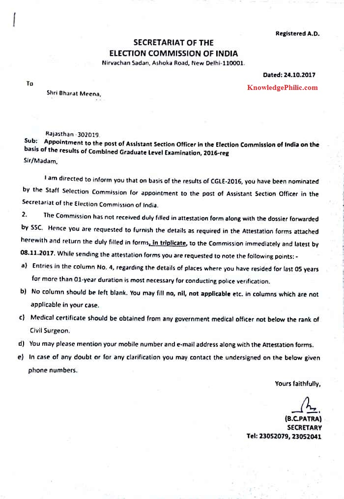 Letter Regarding Appointment Issued To ASO (ECI) For SSC CGL 2016