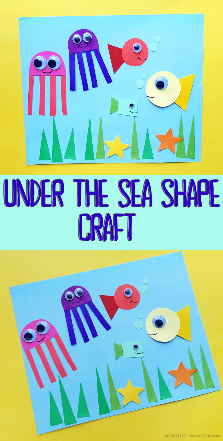 Under the sea shape craft for kids. A fun and easy ocean craft for toddlers and preschoolers.