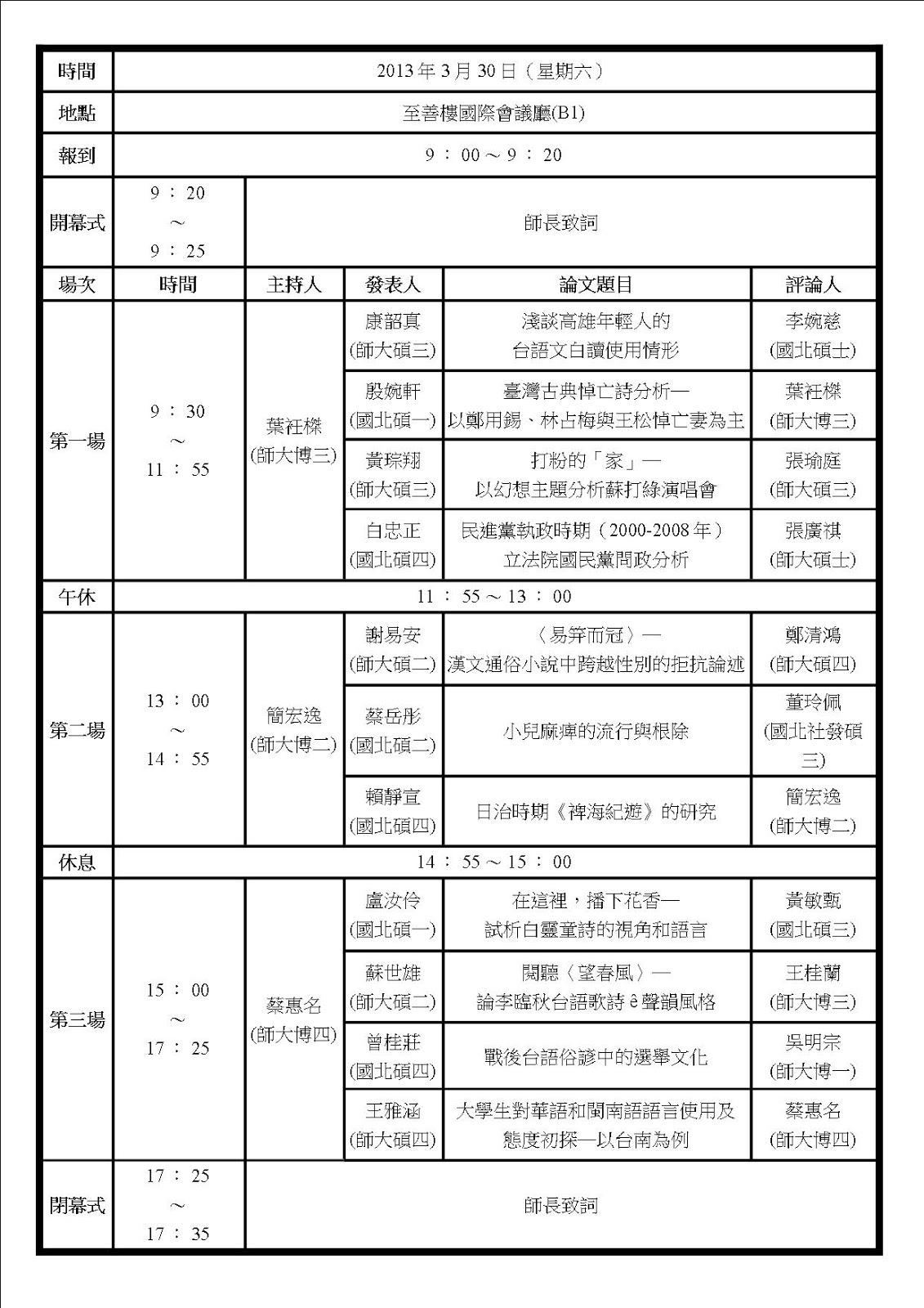 第七屆國北教大暨臺師大臺文系所 研究所論文發表會
