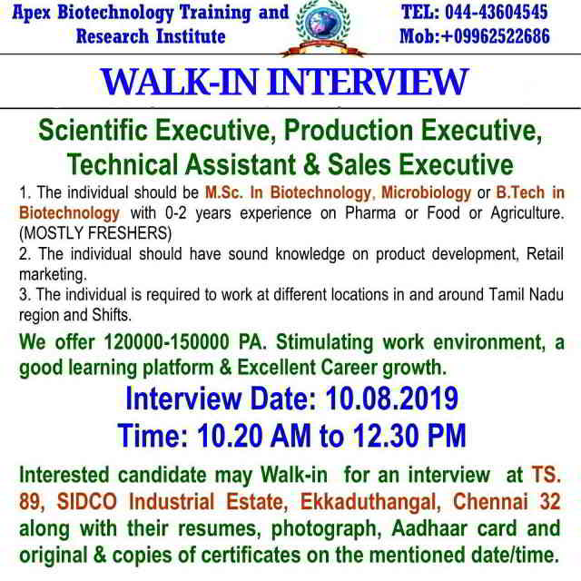 Walk-in interview for Freshers and Experienced candidates on 10th August, 2019 @  Apex Biotechnology Training and Research Institute