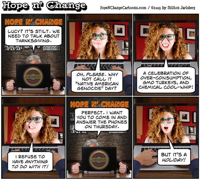 stilton's place, stilton, political, humor, conservative, cartoons, jokes, hope n' change, thanksgiving, 2019, schiff, turkey, pardon, impeachment, lefty lucy, obama, trump