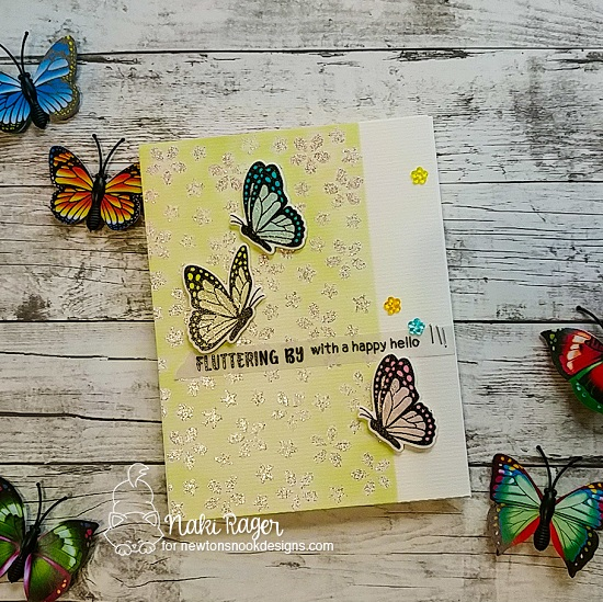 Butterfly Card  by  Nakaba Ragerl | Monarchs Stamp Set  and Petite Flower Stencil by Newton's Nook Designs #newtonsnook #handmade