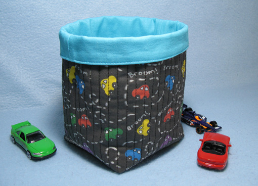 Fabric Basket to store matchbox cars ~ Threading My Way