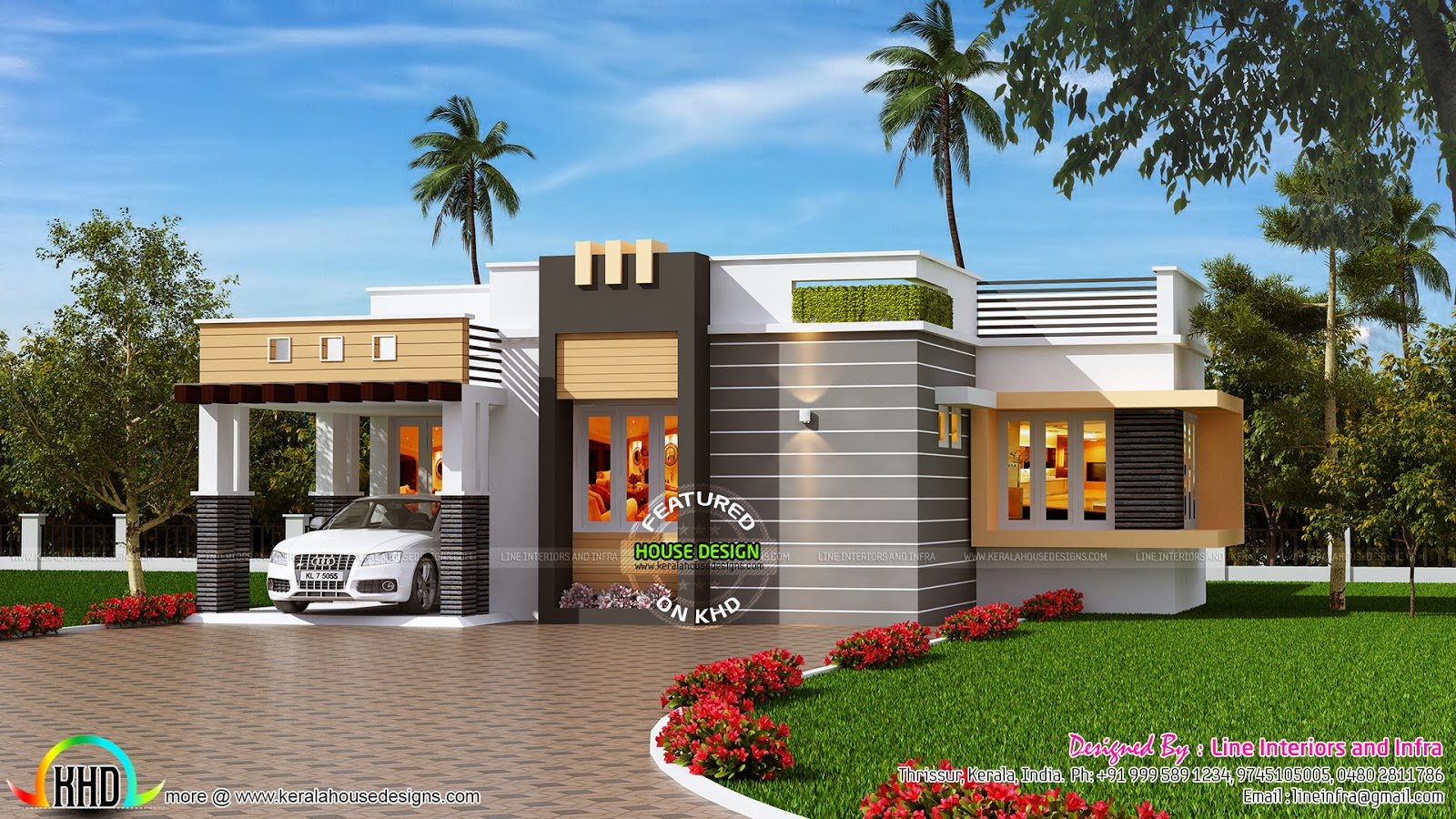 January 2016 kerala home design and floor plans for Single floor house elevation designs