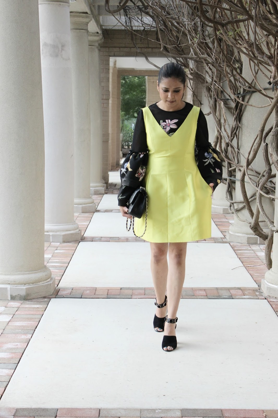 how to layer dress over top, bell sleeves printed blouse, chartreuse kate spade silk dress, kat maconie sandals, patrizia luca milano top, party outfit, fashion show, myriad musings, ootd, street style, saumya shiohare