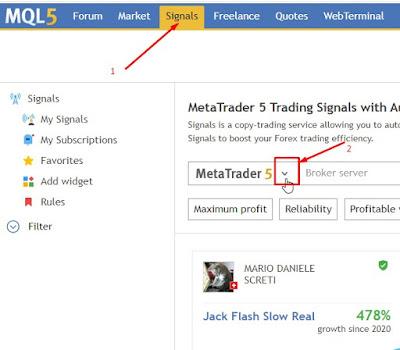 Memilih sinyal trading forex di mql5