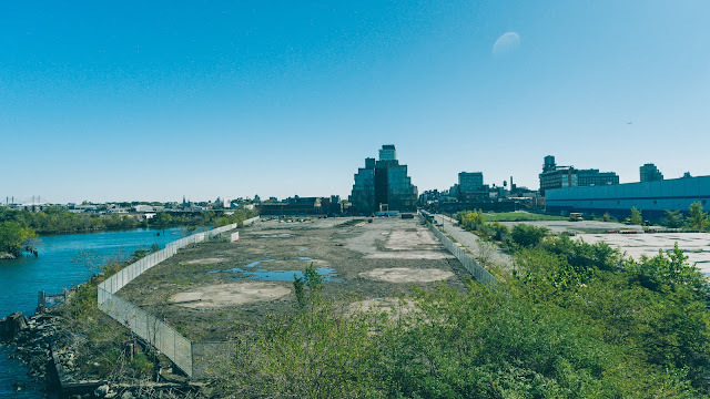 aerial drone work site of demolished industrial property
